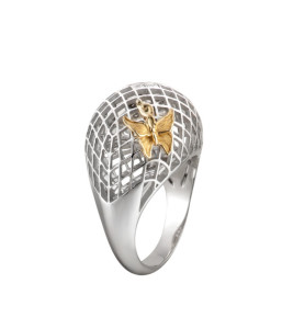 Prisma mini ring in white & yellow gold